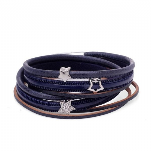 Double Wrap Sparkle Stars Leather Bracelet in Navy
